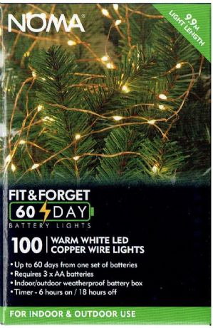Fit and Forget Bright White LED Battery Garden Lights 100